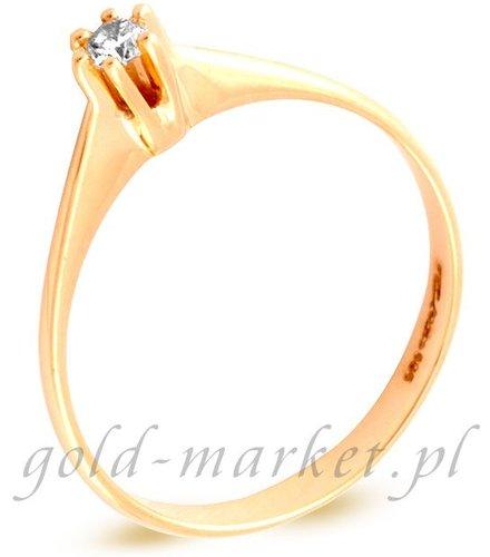 Pierścionek z żółtego złota z DIAMENTEM (CEAN412GG)
