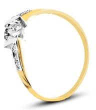 Pierścionek z żółtego złota ze wstawkami białego złota (AGP03G)
