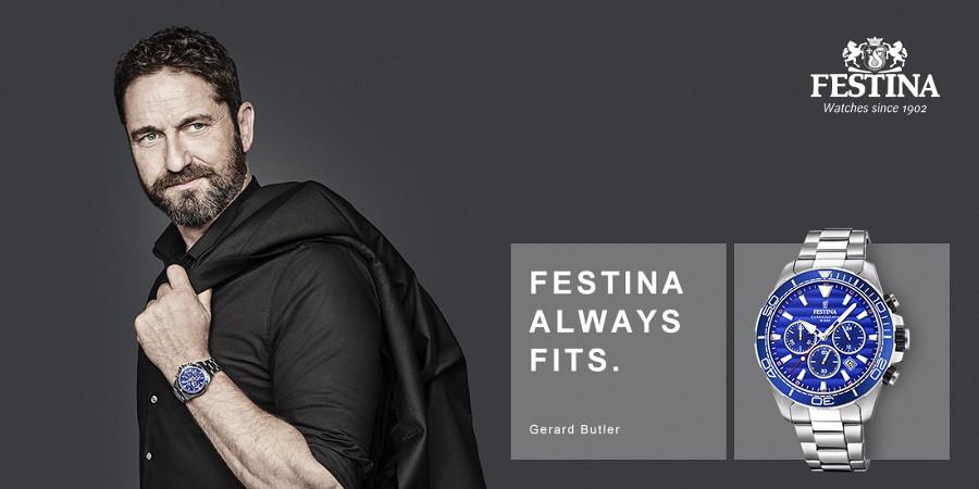 Gerard Butler z zegarkiem Festina